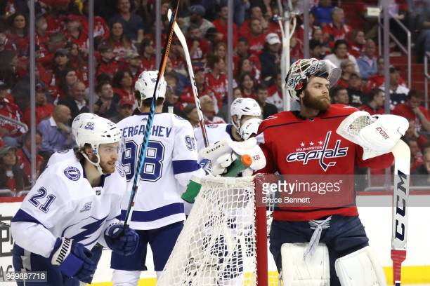 Brayden Point of the Tampa Bay Lightning celebrates after scoring a goal on Braden Holtby of the Washington Capitals during the first period in Game...