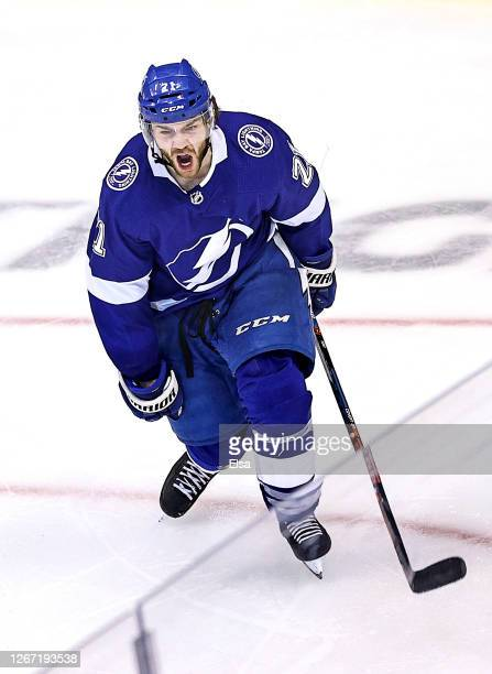 Brayden Point of the Tampa Bay Lightning celebrates after scoring the game winning goal against the Columbus Blue Jackets at 5:12 during the first...