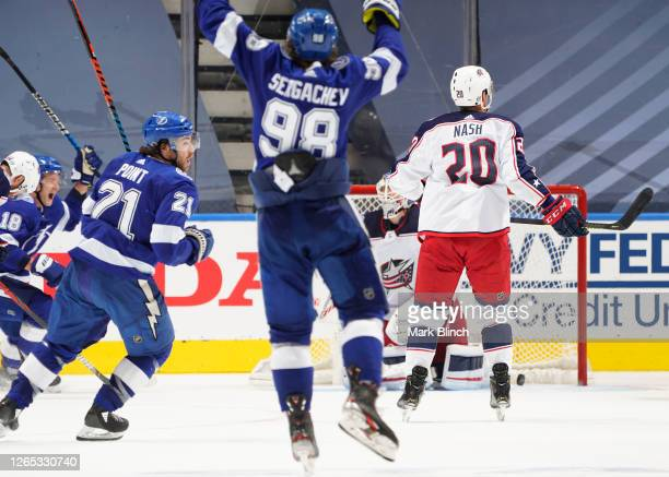 Brayden Point of the Tampa Bay Lightning celebrates his game winning goal at 10:27 in the fifth overtime during Game One of the Eastern Conference...