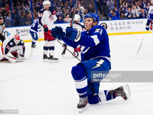 Brayden Point of the Tampa Bay Lightning celebrates his goal against the Columbus Blue Jackets during the second period at Amalie Arena on October 13...