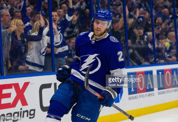 Brayden Point of the Tampa Bay Lightning celebrates his goal against the Vancouver Canucks during the third period at Amalie Arena on January 7 2020...