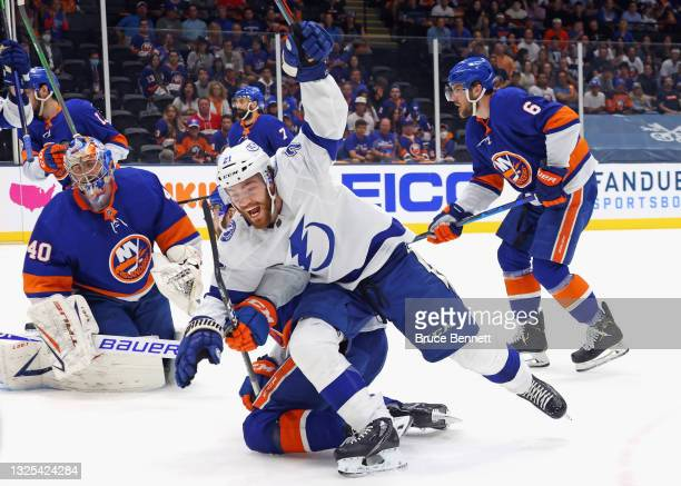 Brayden Point of the Tampa Bay Lightning celebrates his goal against Semyon Varlamov of the New York Islanders in Game Six of the NHL Stanley Cup...