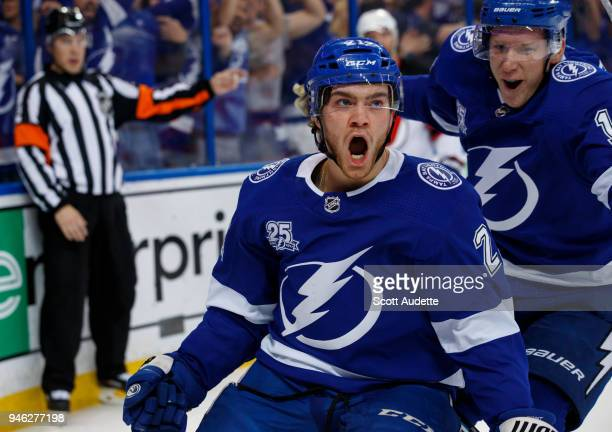 Brayden Point of the Tampa Bay Lightning celebrates his goal against the New Jersey Devils in Game Two of the Eastern Conference First Round during...