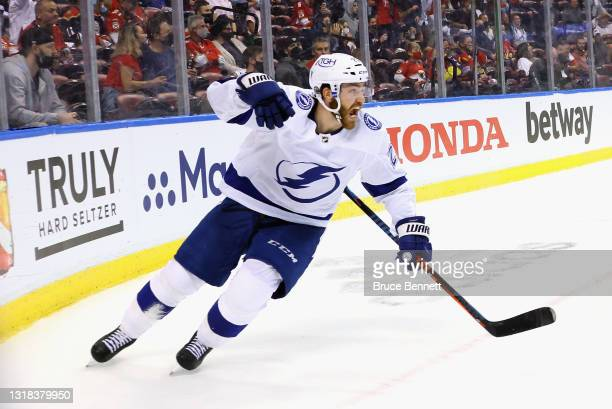 Brayden Point of the Tampa Bay Lightning celebrates his goal at 18:46 of the third period against Sergei Bobrovsky of the Florida Panthers in Game...