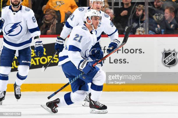 Brayden Point of the Tampa Bay Lightning celebrates his goal during the first period against the Pittsburgh Penguins at PPG Paints Arena on November...