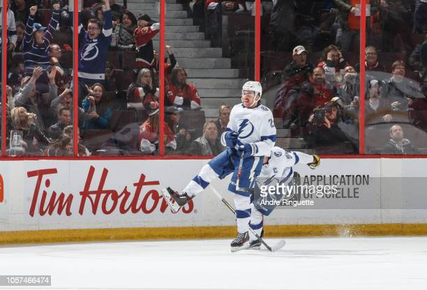Brayden Point of the Tampa Bay Lightning celebrates his lastminute gametying goal against the Ottawa Senators at Canadian Tire Centre on November 4...