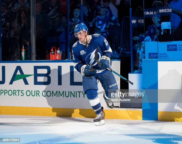 Brayden Point of the Tampa Bay Lightning celebrates the win against the Florida Panthers at Amalie Arena on October 6 2017 in Tampa Florida