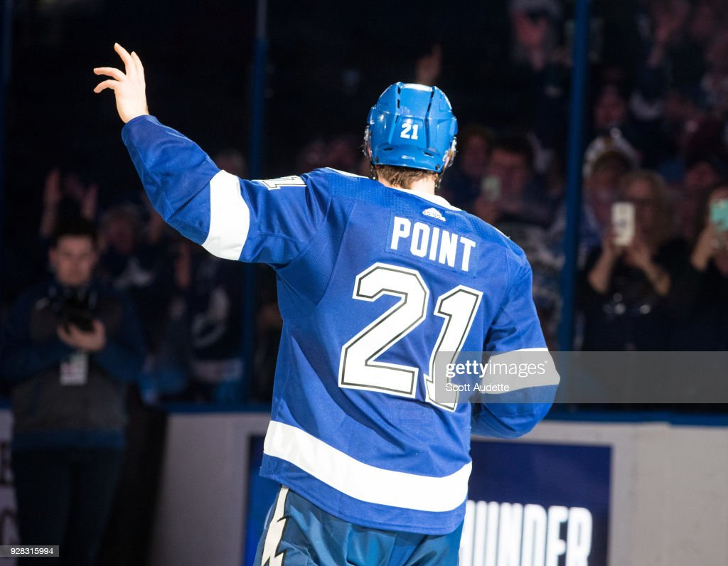 Brayden Point #21 of the Tampa Bay Lightning celebrates the win against the Florida Panthers at Amalie Arena on March 6, 2018 in Tampa, Florida.