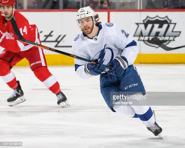 Brayden Point of the Tampa Bay Lightning follows the play against the Detroit Red Wings during an NHL game at Little Caesars Arena on March 8, 2020...