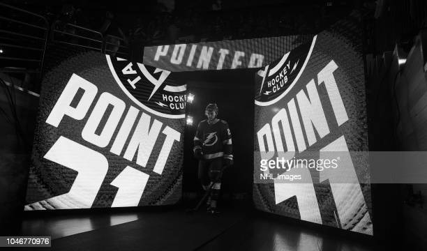 Brayden Point of the Tampa Bay Lightning is introduced before the home opener against the Florida Panthers at Amalie Arena on October 6 2018 in Tampa...