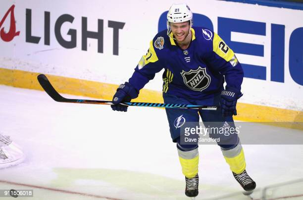 Brayden Point of the Tampa Bay Lightning laughs during the 2018 Honda NHL AllStar Game between the Atlantic Division and the Metropolitan Divison at...