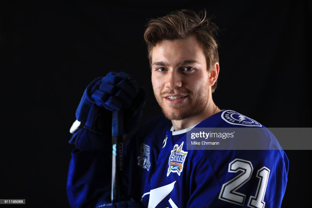Brayden Point #21 of the Tampa Bay Lightning poses for a portrait during the 2018 NHL All-Star at Amalie Arena on January 27, 2018 in Tampa, Florida.