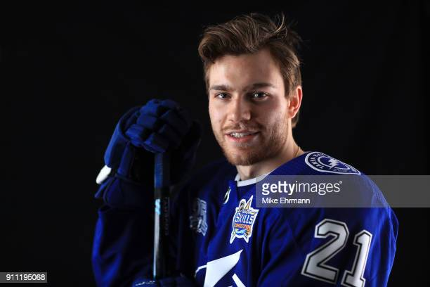 Brayden Point of the Tampa Bay Lightning poses for a portrait during the 2018 NHL AllStar at Amalie Arena on January 27 2018 in Tampa Florida