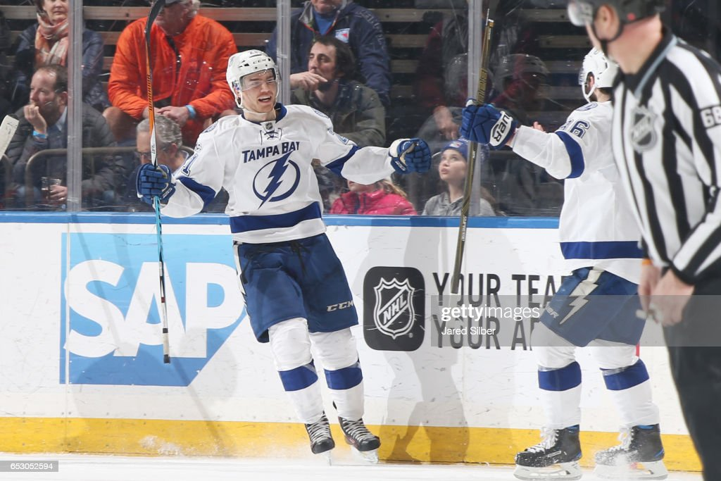 Brayden Point #21 of the Tampa Bay Lightning reacts after scoring a goal in the third period against the New York Rangers at Madison Square Garden on March 13, 2017 in New York City.