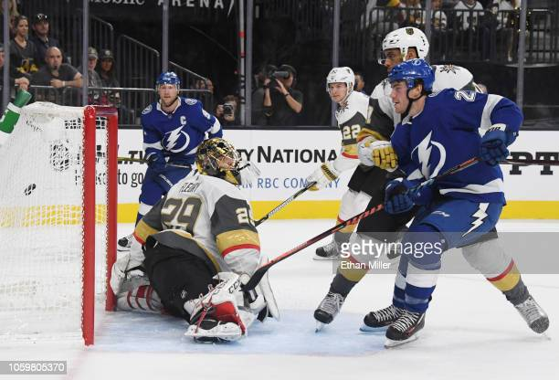 Brayden Point of the Tampa Bay Lightning scores a goal against MarcAndre Fleury of the Vegas Golden Knights in the first period of their game at...