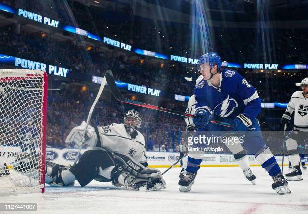 Brayden Point of the Tampa Bay Lightning shoots the puck for a goal against goalie Jack Campbell of the Los Angeles Kings during the first period at...