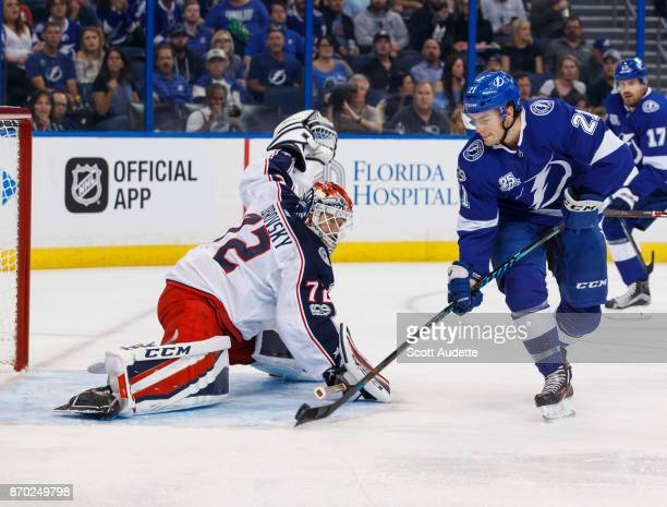 Brayden Point of the Tampa Bay Lightning shoots the puck for a goal against Sergei Bobrovsky of the Columbus Blue Jackets during the first period at...