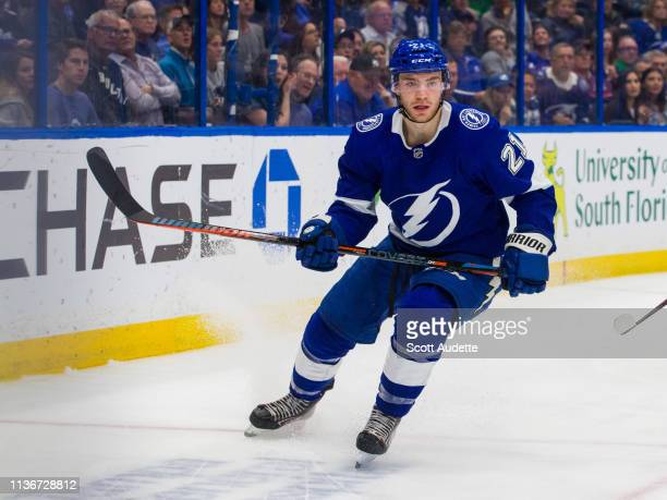 Brayden Point of the Tampa Bay Lightning skates against the Arizona Coyotes in the first period at Amalie Arena on March 18 2019 in Tampa Florida nn