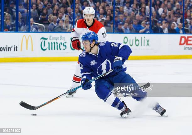 Brayden Point of the Tampa Bay Lightning skates against the Carolina Hurricanes during the first period at Amalie Arena on January 9 2018 in Tampa...