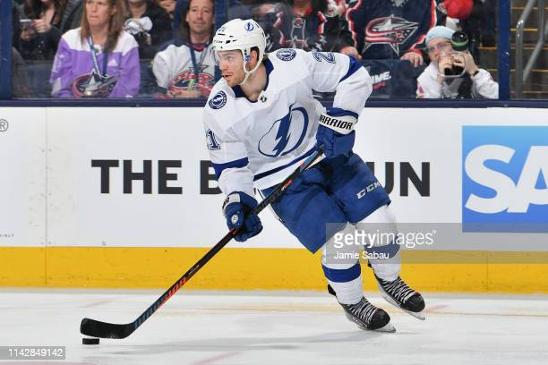 Brayden Point of the Tampa Bay Lightning skates against the Columbus Blue Jackets in Game Three of the Eastern Conference First Round during the 2019...