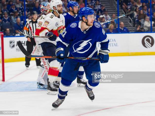 Brayden Point of the Tampa Bay Lightning skates against the Florida Panthers during the third period at Amalie Arena on October 6 2018 in Tampa...
