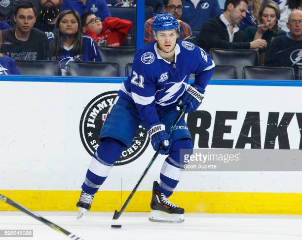 Brayden Point of the Tampa Bay Lightning skates against the Minnesota Wild during the first period at Amalie Arena on December 23 2017 in Tampa...