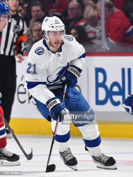Brayden Point of the Tampa Bay Lightning skates against the Montreal Canadiens during the third period at the Bell Centre on January 2 2020 in...