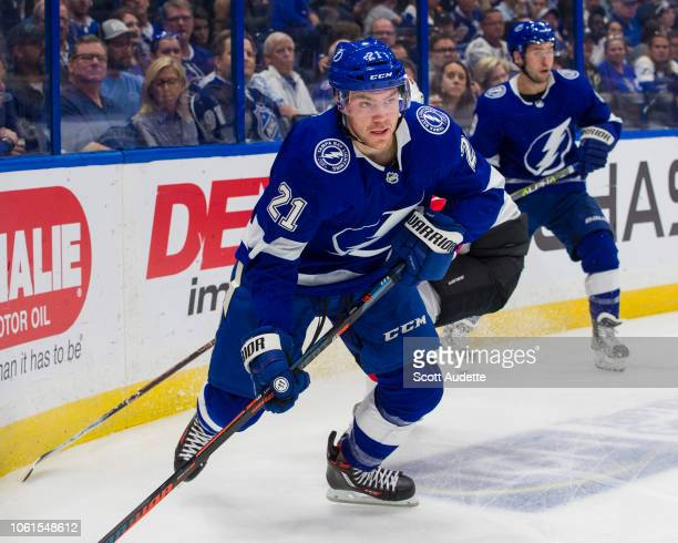 Brayden Point of the Tampa Bay Lightning skates against the New Jersey Devils during the first period at Amalie Arena on October 30 2018 in Tampa...