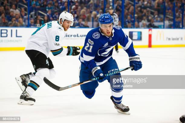 Brayden Point of the Tampa Bay Lightning skates against the San Jose Sharks during the first period at Amalie Arena on December 2 2017 in Tampa...