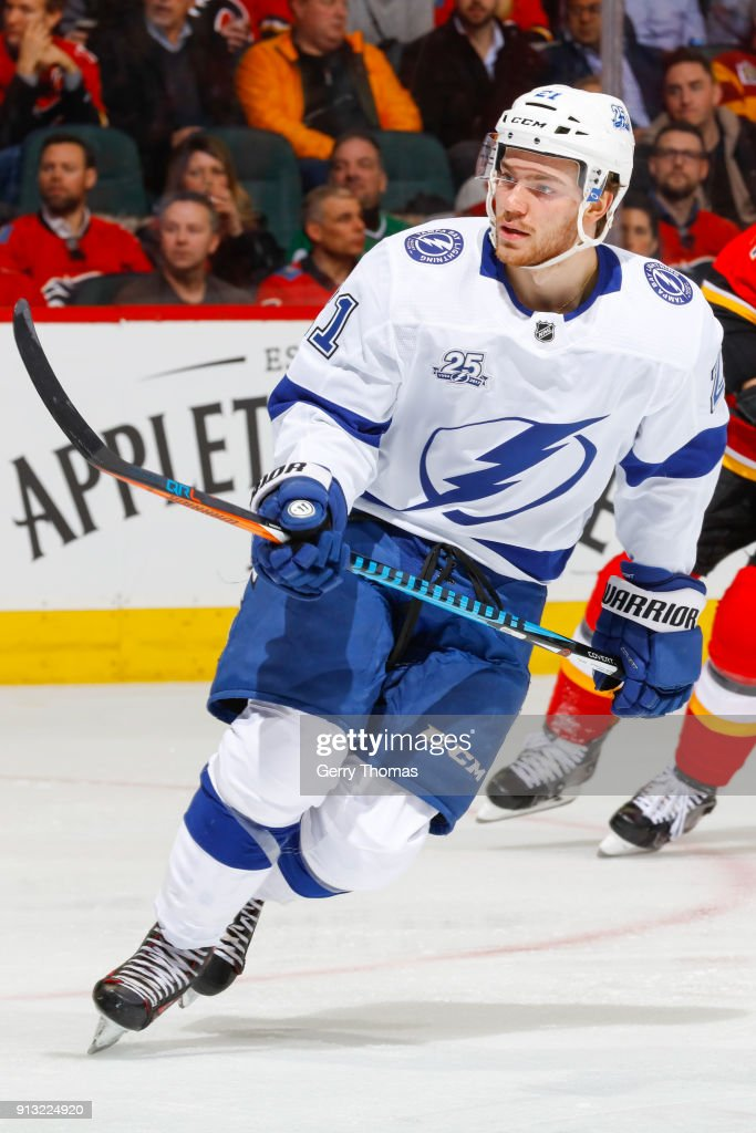 Brayden Point #21 of the Tampa Bay Lightning skates in an NHL game on February 1, 2018 at the Scotiabank Saddledome in Calgary, Alberta, Canada.