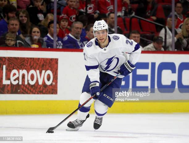 Brayden Point of the Tampa Bay Lightning skates with the puck during an NHL game against the Carolina Hurricanes on March 21 2019 at PNC Arena in...