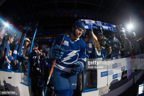 Brayden Point of the Tampa Bay Lightning steps out to the ice for the pregame warm ups against the Buffalo Sabres at Amalie Arena on April 6 2018 in...