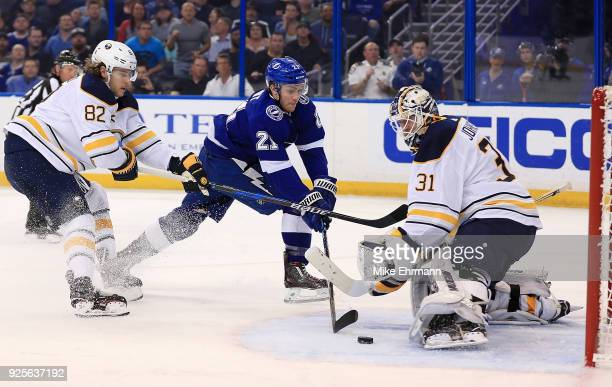 Brayden Point of the Tampa Bay Lightning takes a shot on Chad Johnson of the Buffalo Sabres during a game at Amalie Arena on February 28 2018 in...