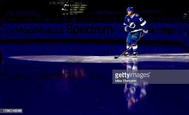 Brayden Point of the Tampa Bay Lightning takes the ice during a game against the Chicago Blackhawks on opening night of the 2020-21 NHL season at...