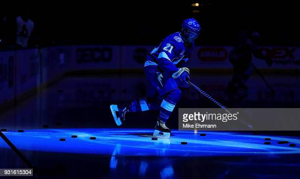Brayden Point of the Tampa Bay Lightning takes the ice during a game against the Ottawa Senators at Amalie Arena on March 13 2018 in Tampa Florida