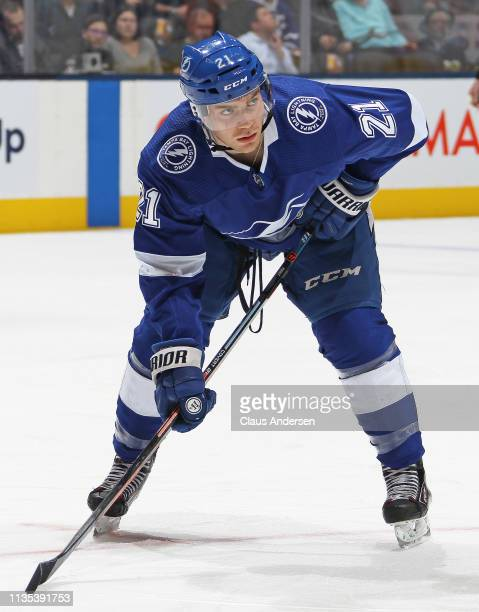 Brayden Point of the Tampa Bay Lightning waits for a faceoff against the Toronto Maple Leafs during an NHL game at Scotiabank Arena on March 11 2019...