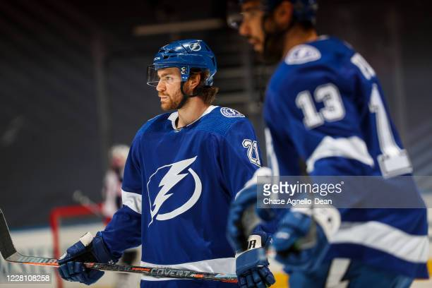 Brayden Point of the Tampa Bay Lightning warms up before facing the Columbus Blue Jackets in Game Five of the Eastern Conference First Round of the...