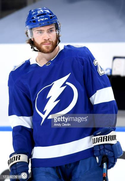 Brayden Point of the Tampa Bay Lightning warms up before Game Two of the Eastern Conference Final of the 2020 NHL Stanley Cup Playoffs between the...