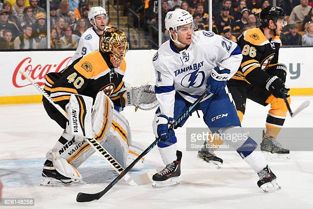 Brayden Point of the Tampa Bay Lightning watches the play against Tuukka Rask of the Boston Bruins at the TD Garden on November 27 2016 in Boston...
