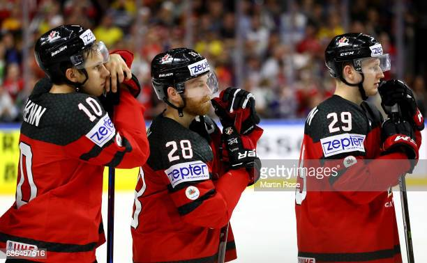 Brayden Schenn Claude Giroux and Nate Mackinnon of Canada look dejected after the 2017 IIHF Ice Hockey World Championship Gold Medal game Canada and...