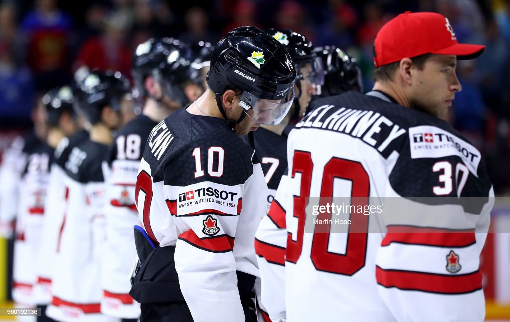 Brayden Schenn #10 of Canada looks dejected after the 2018 IIHF Ice Hockey World Championship Semi Final game between Canada and Switzerland at Royal Arena on May 19, 2018 in Copenhagen, Denmark.
