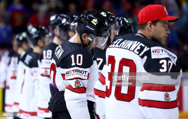 Brayden Schenn of Canada looks dejected after the 2018 IIHF Ice Hockey World Championship Semi Final game between Canada and Switzerland at Royal...