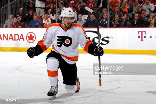Brayden Schenn of the Philadelphia Flyers celebrates after scoring a goal against Martin Brodeur of the New Jersey Devils in the first period in Game...