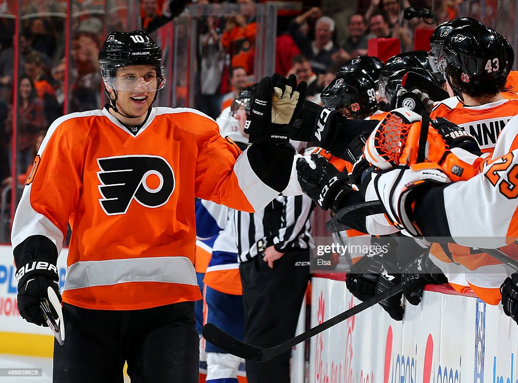 Brayden Schenn #10 of the Philadelphia Flyers celebrates his game winning goal with teammates on the bench in the final seconds of the game against the New York Islanders on April 7, 2015 at the Wells Fargo Center in Philadelphia, Pennsylvania.The Philadelphia Flyers defeated the New York Islanders 5-4.