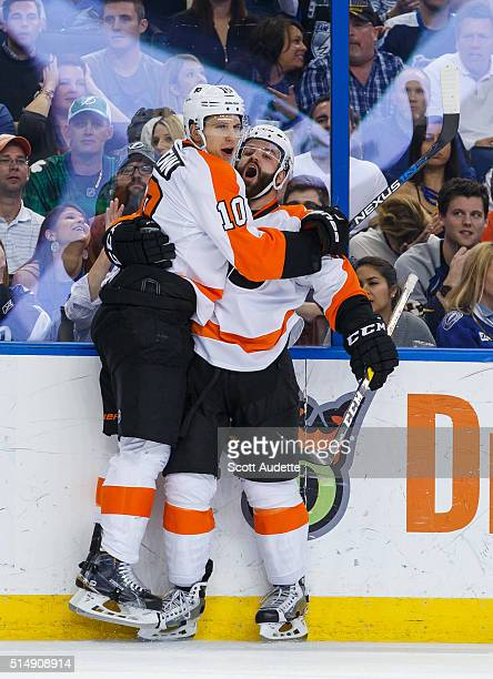 Brayden Schenn of the Philadelphia Flyers scores over the Tampa Bay Lightning during the second period of the game at Amalie Arena on March 11 2016...