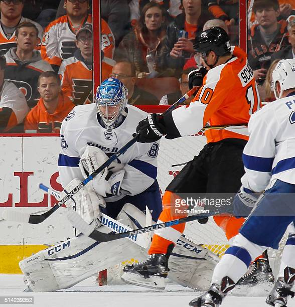Brayden Schenn of the Philadelphia Flyers scores the game winning goal at 1357 of the third period against Andrei Vasilevskiy of the Tampa Bay...