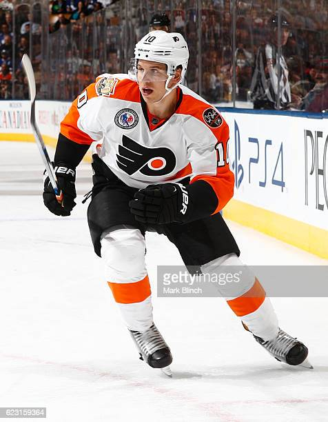 Brayden Schenn of the Philadelphia Flyers skates against the Toronto Maple Leafs during the second period at the Air Canada Centre on November 11...