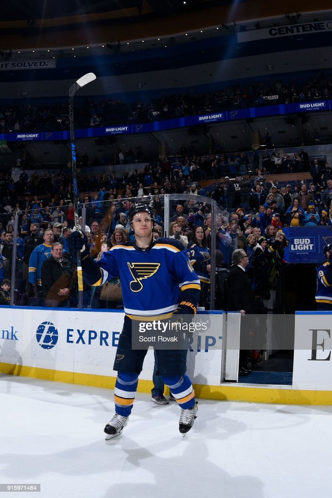 Brayden Schenn #10 of the St. Louis Blues acknowledges the fans after the game against the Colorado Avalanche at Scottrade Center on February 8, 2018 in St. Louis, Missouri.