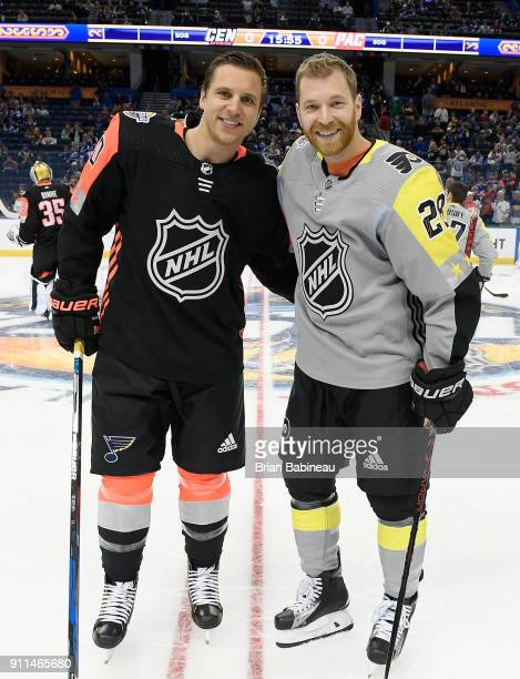 Brayden Schenn of the St Louis Blues and Claude Giroux of the Philadelphia Flyers pose for a photo during warmup prior to the 2018 Honda NHL AllStar...