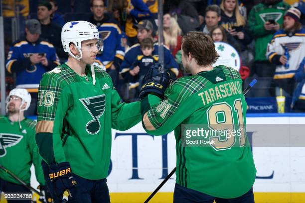Brayden Schenn of the St Louis Blues and Vladimir Tarasenko of the St Louis Blues during warmups prior to a game against the New York Rangers at...